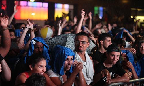 Students braved heavy rain and humidity at the 6Fest pop-up concert at Ryerson's Lake Devo.