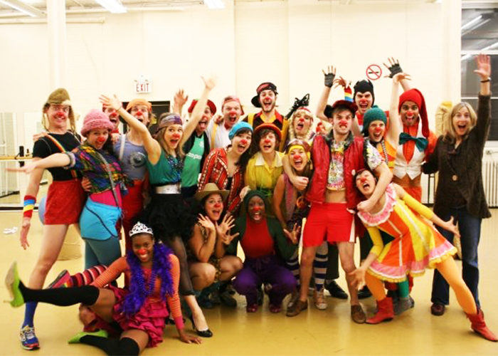The acting class behind the scenes during the run of Clown 2009, directed by Leah Cherniak. (Courtesy Jessica Way)