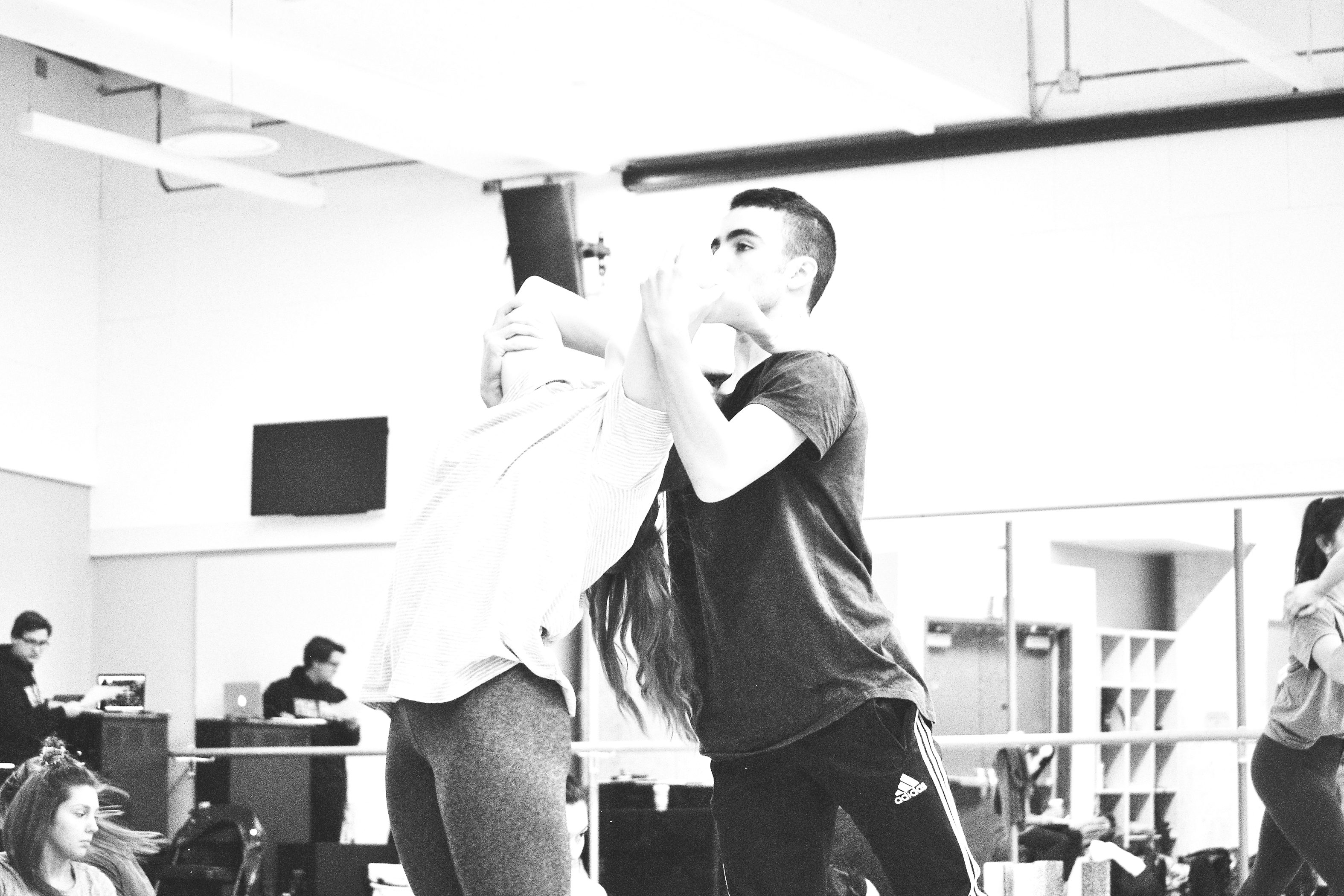 The way that Ryerson Dances breaks down in that the third- and fourth-year dancers are involved in the shows and the first- and second-years can be involved as understudies. Fourth-year, Kristen Sullivan and second-year understudy, Christos Tsiantoulas rehearse together ahead of Ryerson Dances first show. (Courtesy Megan Stephens)
