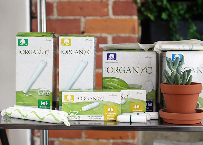 Organyc, the brand of tampons and pads that Bertram sells. (Kelsey Adams)