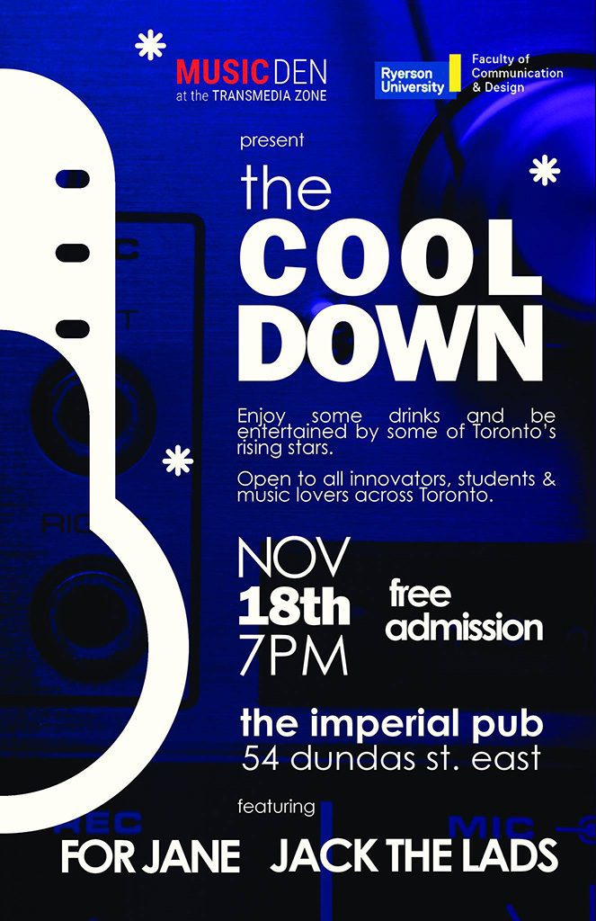 "Poster for ""The Cool Down"" the first event in The Music Den's monthly concert series."