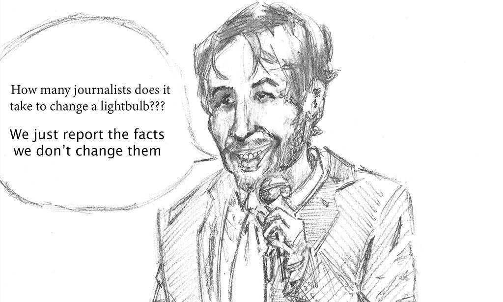 A cartoon of journalism professor Gavin Adamson telling a joke. Illustrated by Alex Tsui.