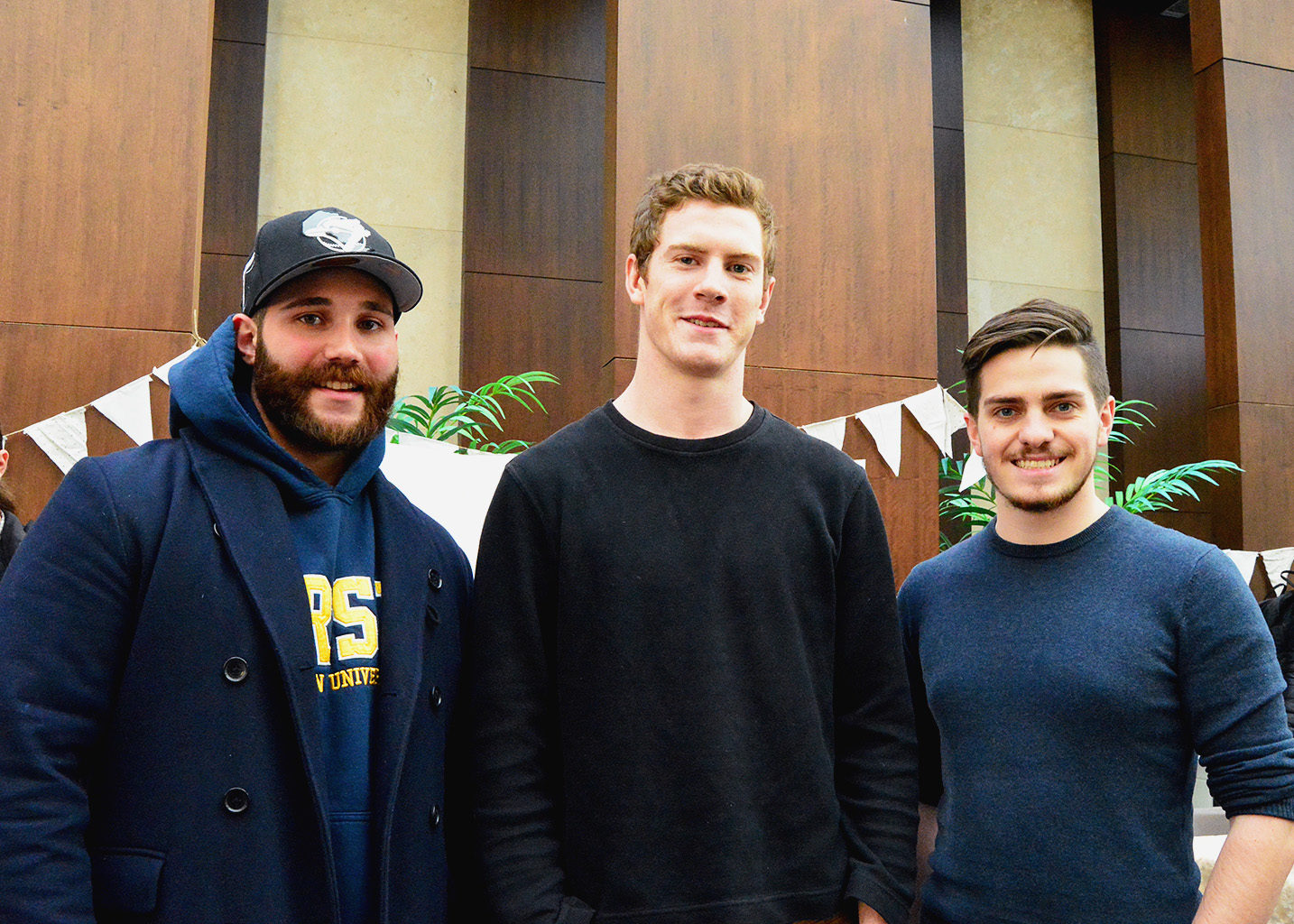 [Left to right] Alexander Mines, Tanner MacDonald, and Trevor McConnell, three of the four founders of the Food Innovation Hub, attend the Urban Farm Fall Harvest Party on October 25, 2016. Osama Sbeitan (not pictured) is the fourth founder and director of the Food Innovation Hub. (Courtesy Chayonika Chandra)