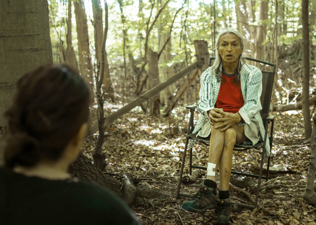 Alex Cywink being interviewed for the documentary on Manitoulin Island. (Courtesy Shades of Our Sisters)