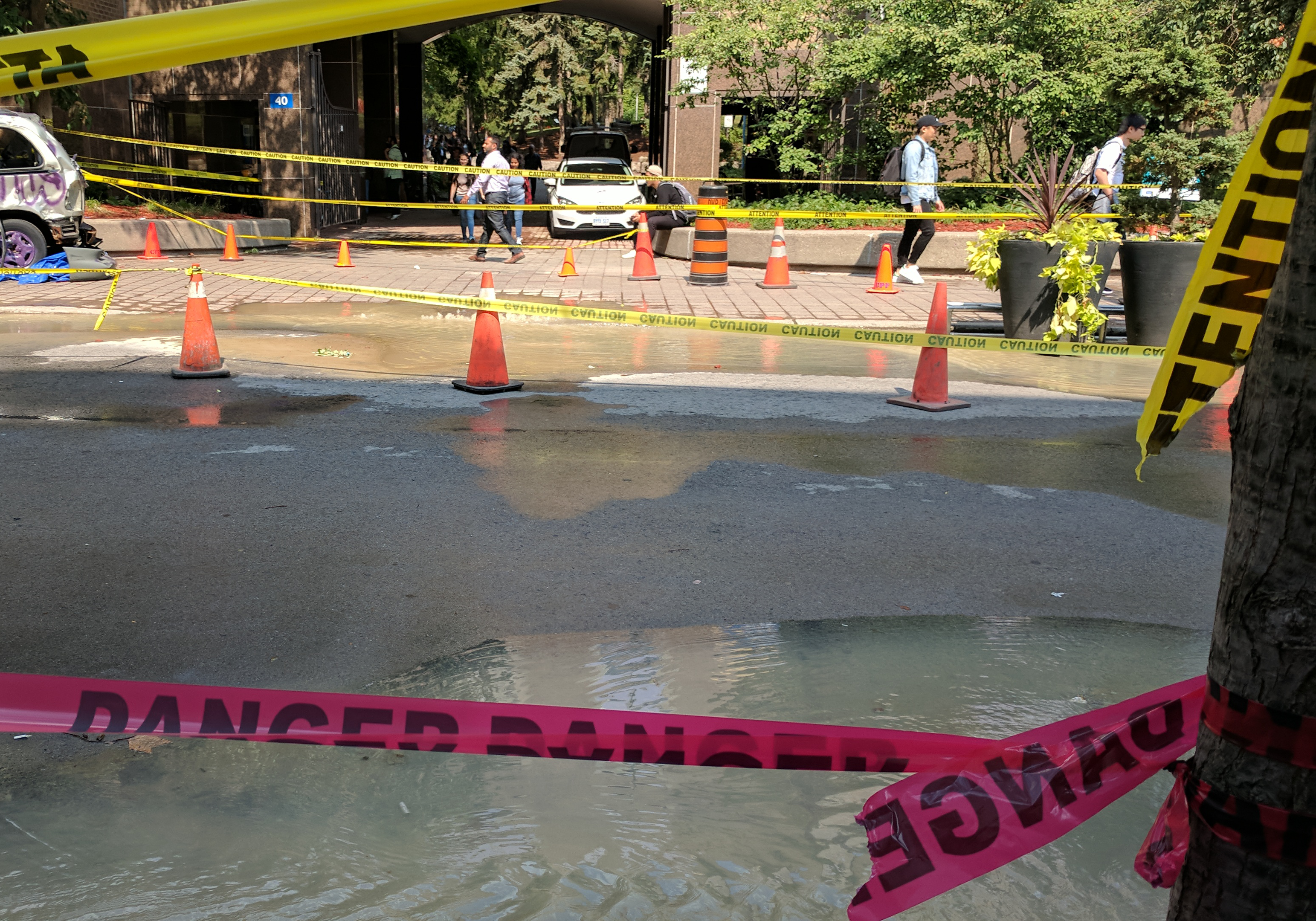 Water pools on Gould Street after a water main break