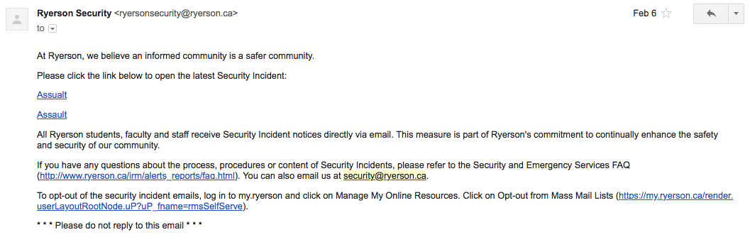 Ryerson security published 15 alerts online today after over