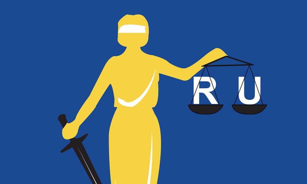 """Illustration of justice woman holding sword and scale with the letters """"R U in them"""""""