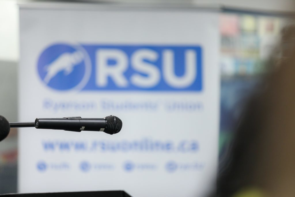 Microphone with RSU banner in background