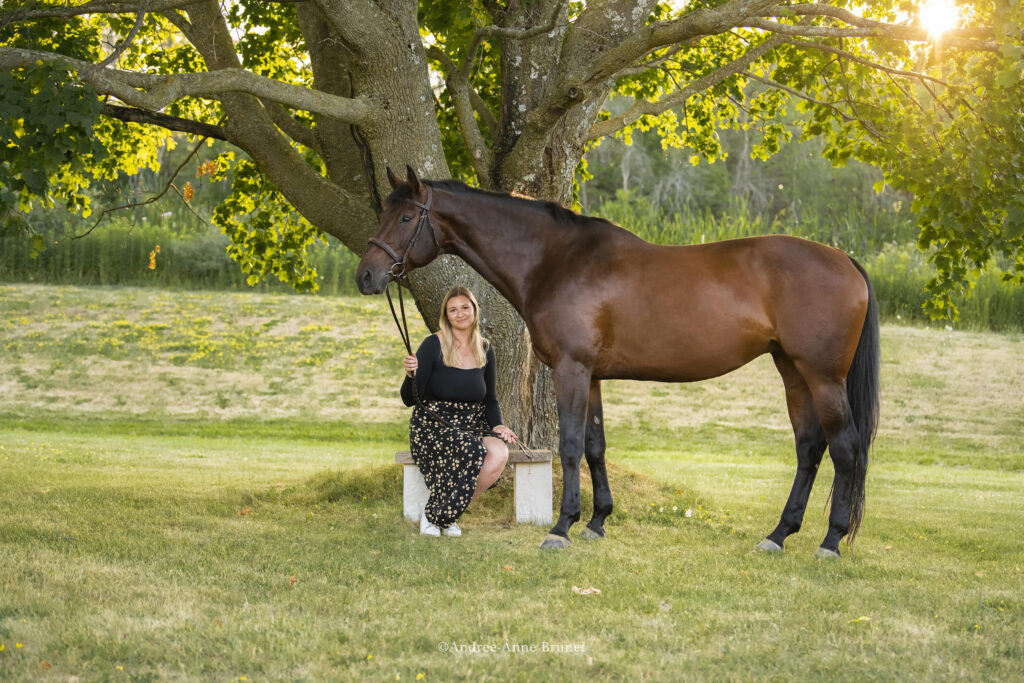 a blonde woman and her brown horse sit in front of a tree in a green open area on a sunny day